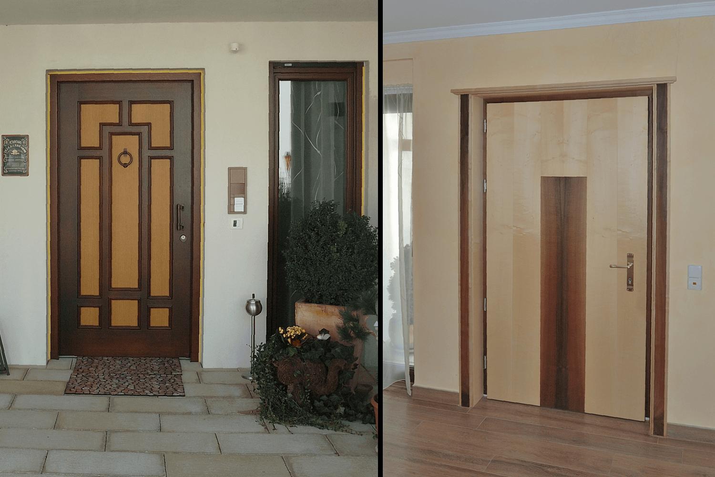 Haustür innen  Haustür außen in einem anderen Stil als innen