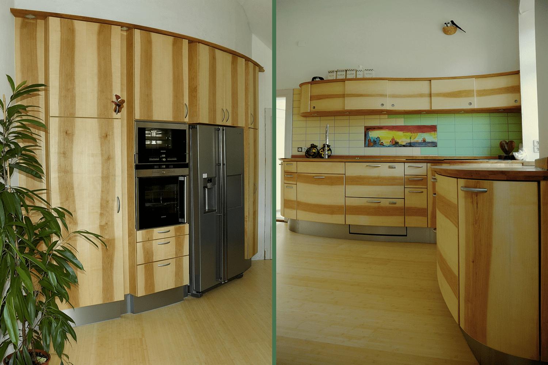 Runde Küche mit Insel und Schränken