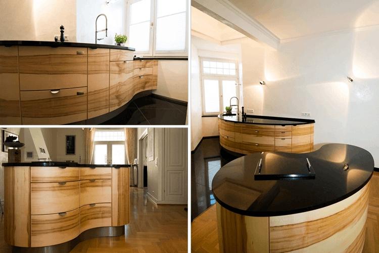 designk che in ahorn und granit. Black Bedroom Furniture Sets. Home Design Ideas