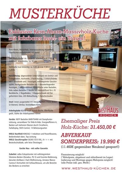 massivholzküche günstig als Ausstellungsküche