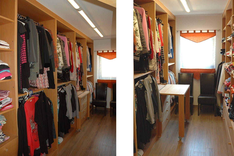 Ankleidezimmer Massivholz mit Packtisch