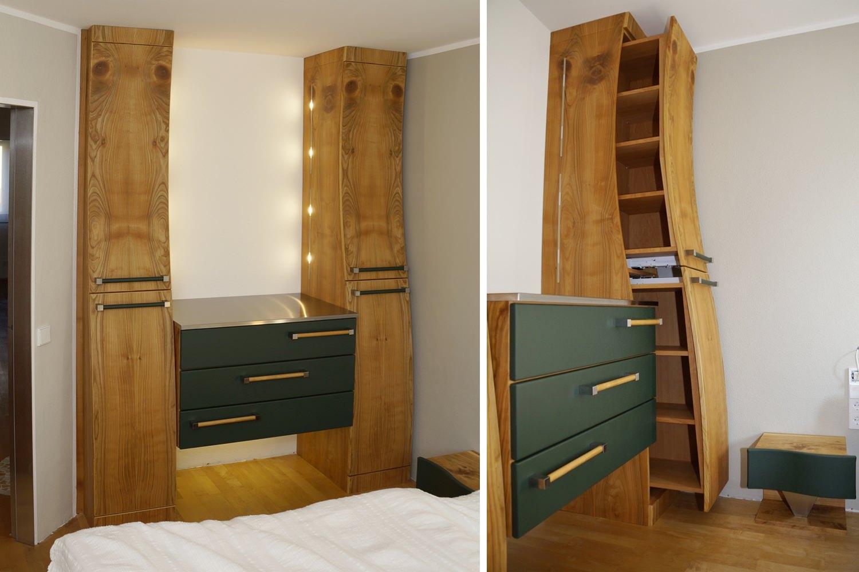 schlafzimmerschrank aus wildholz in kirschbaum