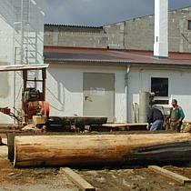 baumstämme werden bei Pfister Möbelwerkstatt zu Bretter gesägt
